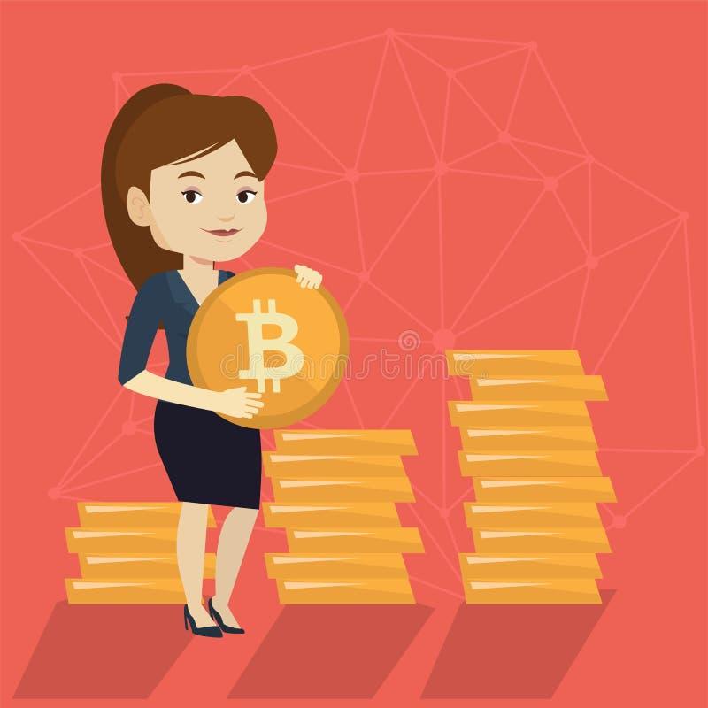 Mujer de negocios acertada joven con la moneda del bitcoin stock de ilustración