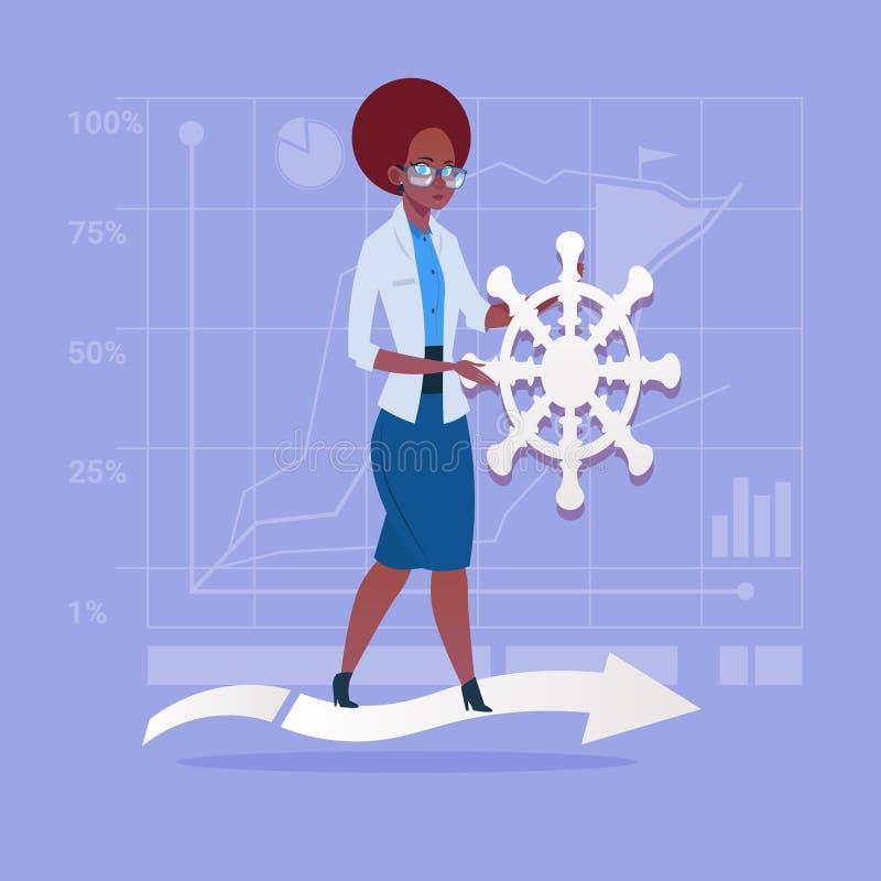 Mujer de negocios afroamericana que detiene al líder Of Company del volante libre illustration