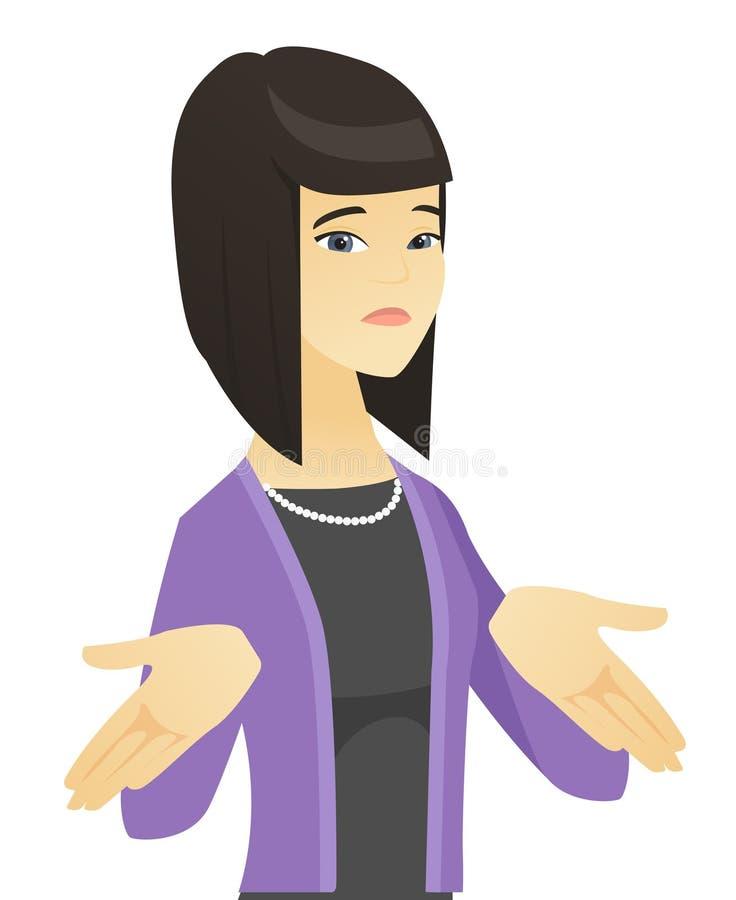 Mujer de negocios asiática confusa que encoge hombros stock de ilustración