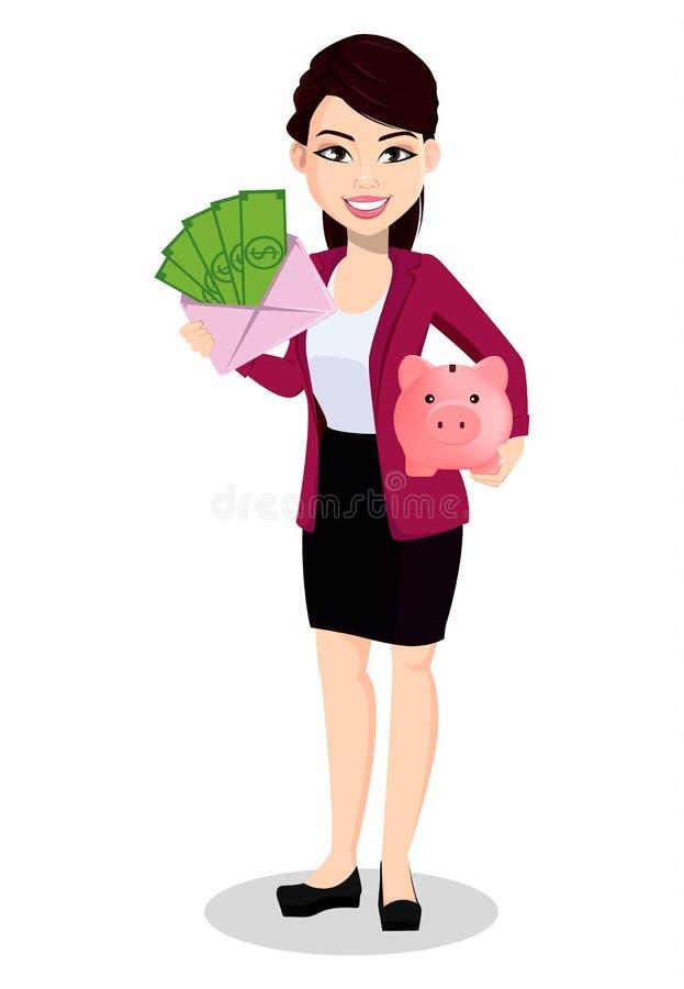 Mujer de negocios asiática en ropa de la oficina stock de ilustración