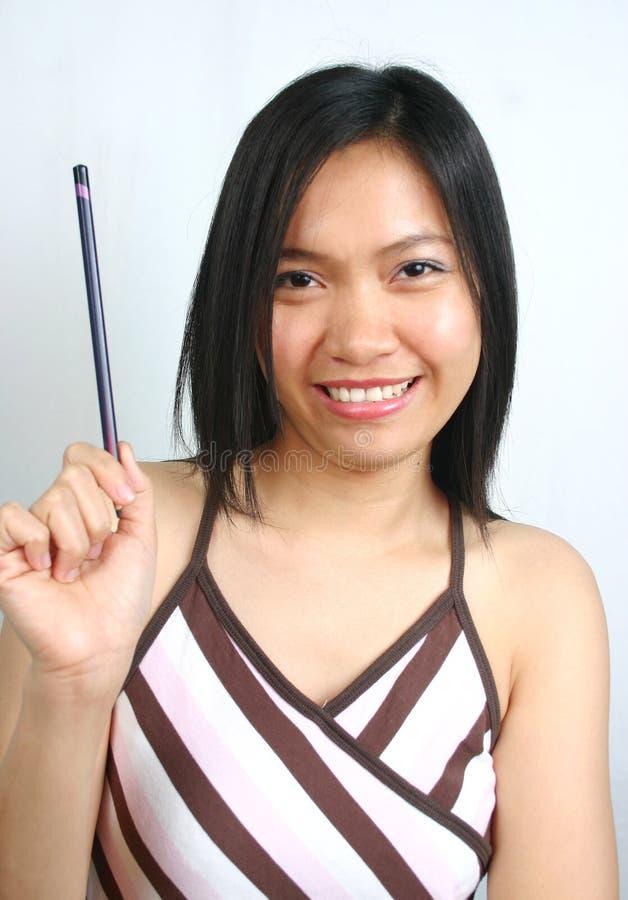 Mujer de negocios asiática feliz imagenes de archivo