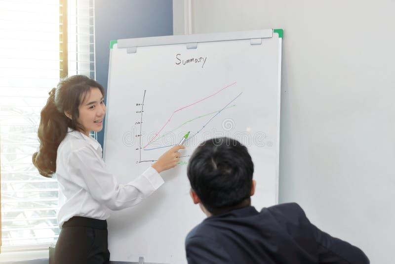 Mujer de negocios asiática joven acertada con la presentación del tablero blanco durante la reunión en la sala de conferencias en imagen de archivo