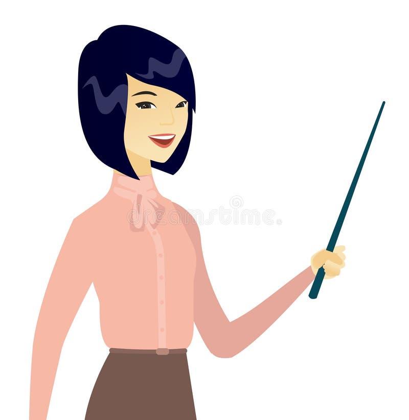 Mujer de negocios asiática joven con un indicador libre illustration