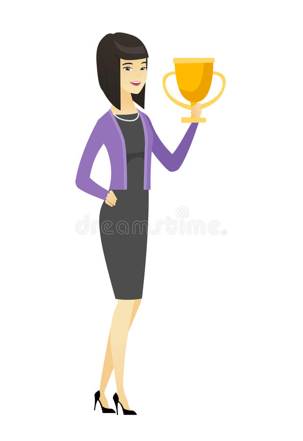 Mujer de negocios asiática que sostiene un trofeo stock de ilustración