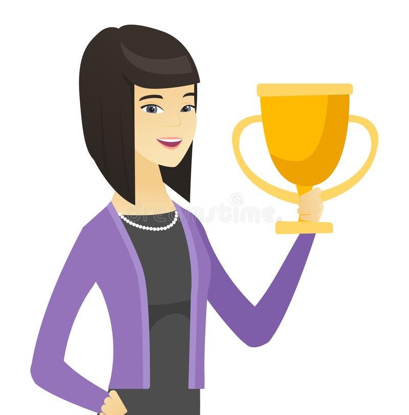 Mujer de negocios asiática que sostiene un trofeo ilustración del vector