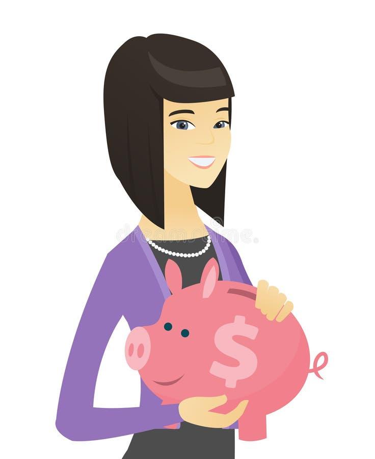 Mujer de negocios asiática que sostiene una hucha ilustración del vector