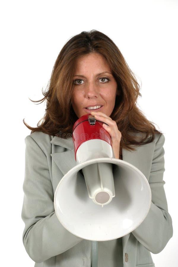 Mujer De Negocios Atractiva Con El Megáfono 3 Fotos De Archivo