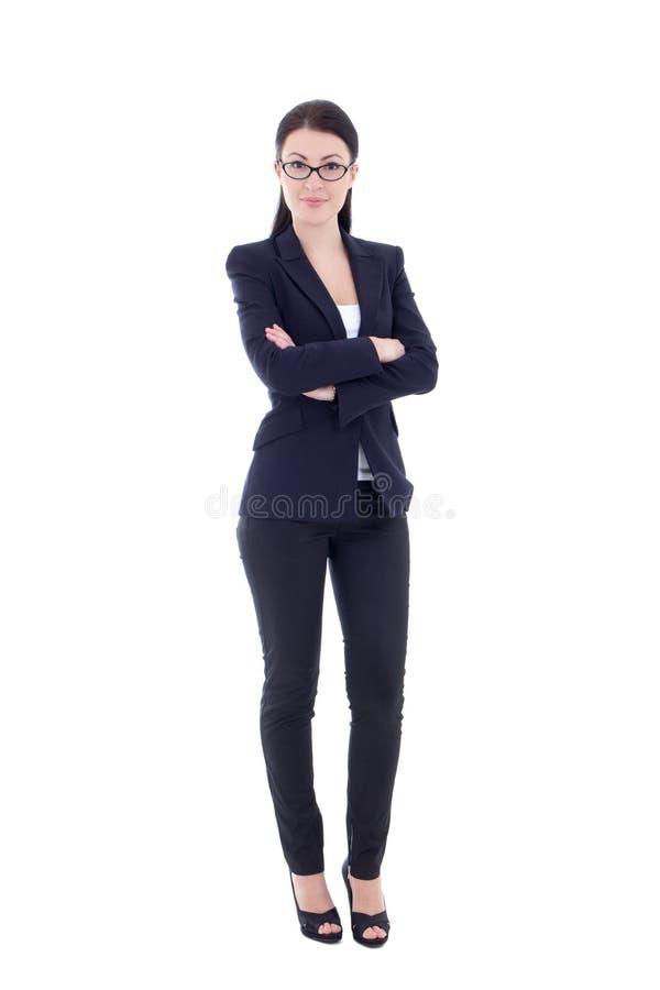 Mujer de negocios atractiva joven aislada en blanco imágenes de archivo libres de regalías