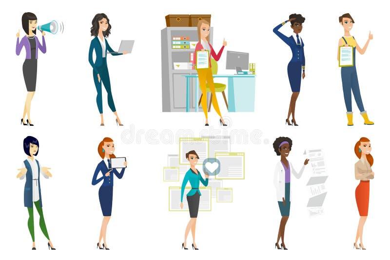 Mujer de negocios, azafata, sistema de la profesión del doctor libre illustration