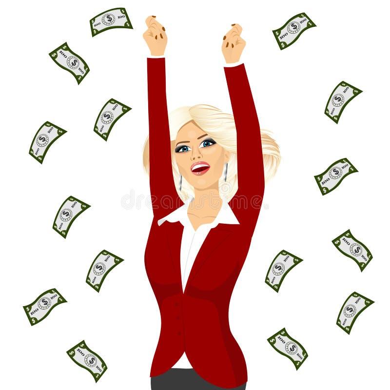 Mujer de negocios bajo una lluvia del dinero libre illustration