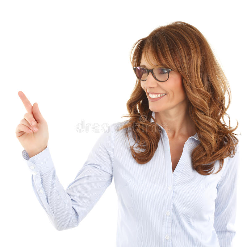 Profesor que señala en algo imágenes de archivo libres de regalías