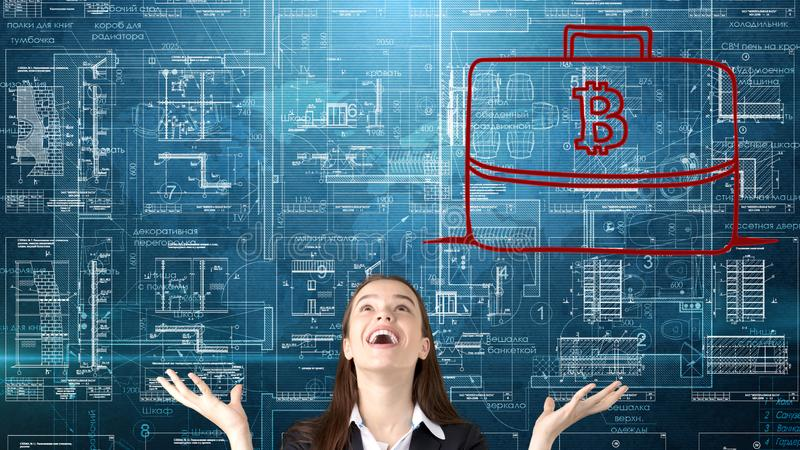 Mujer de negocios de Bauty que se coloca en traje con el logotipo de Bitcoin para ilustrar el uso del bitcoin para negociar o la  fotografía de archivo libre de regalías
