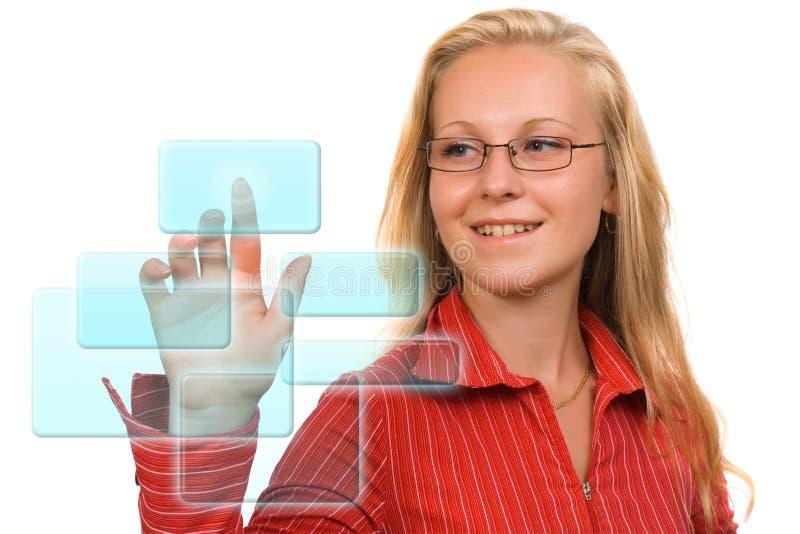 Mujer de negocios - botones de alta tecnología fotos de archivo libres de regalías