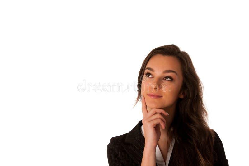 Mujer de negocios caucásica asiática joven hermosa que mira adentro al poli fotografía de archivo