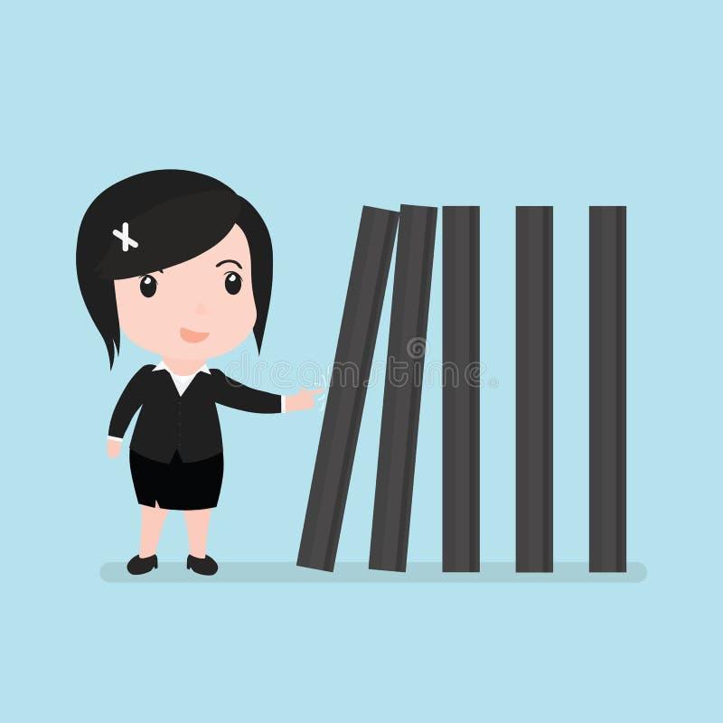 Mujer de negocios con derribar los dominós, efecto de dominó stock de ilustración