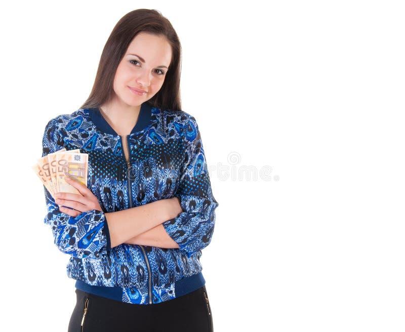 Mujer de negocios con el dinero imagenes de archivo
