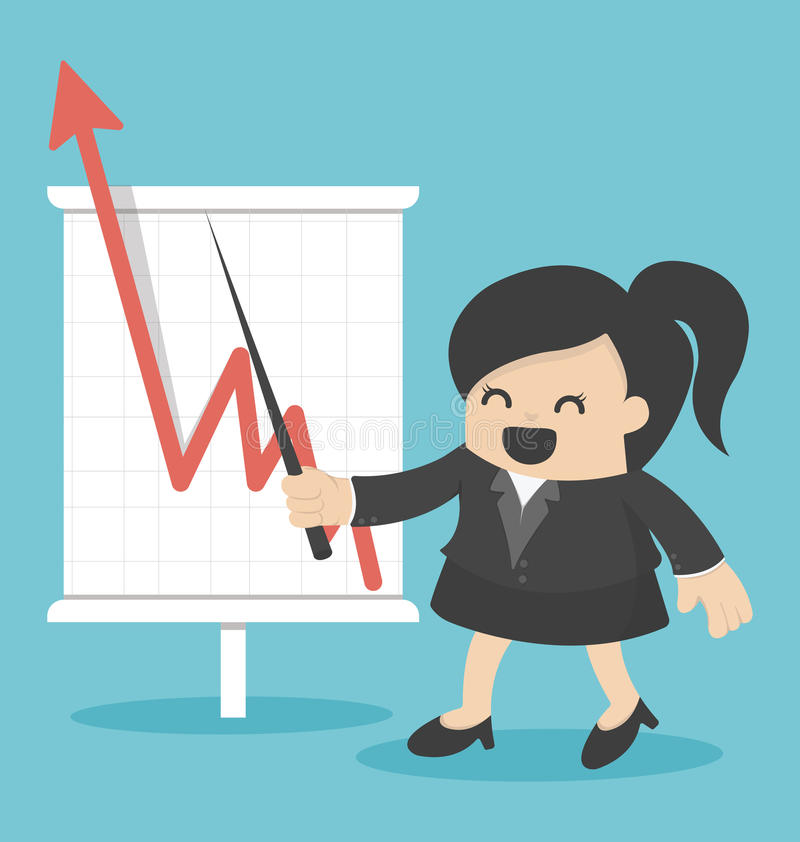 Mujer de negocios con el gráfico cada vez mayor del negocio libre illustration