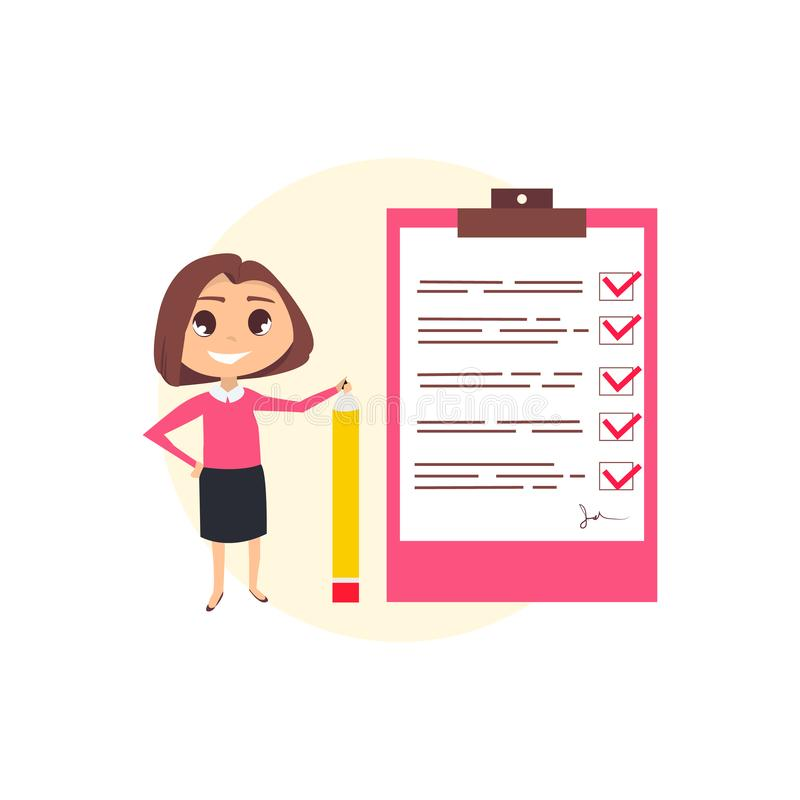 Mujer de negocios con el lápiz ilustración del vector