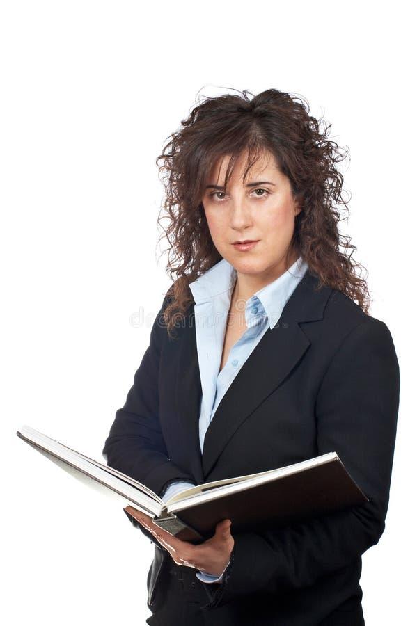 Mujer de negocios con el libro foto de archivo libre de regalías