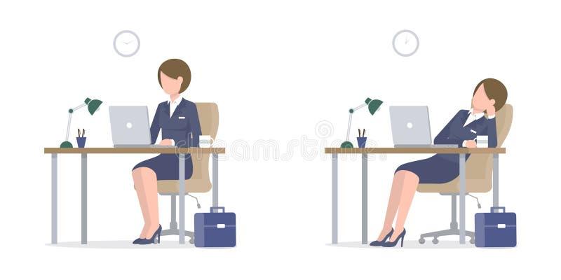 Mujer de negocios con el ordenador portátil en el escritorio con la maleta cansada stock de ilustración