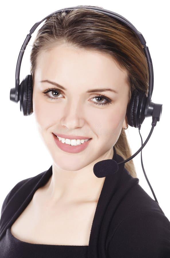 Mujer de negocios con el receptor de cabeza fotografía de archivo