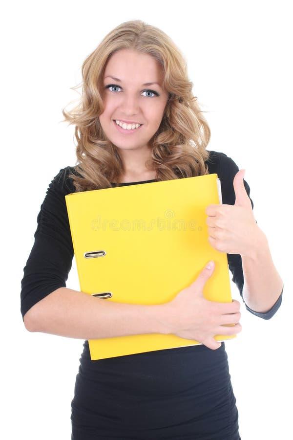 Mujer de negocios con la carpeta amarilla fotografía de archivo libre de regalías