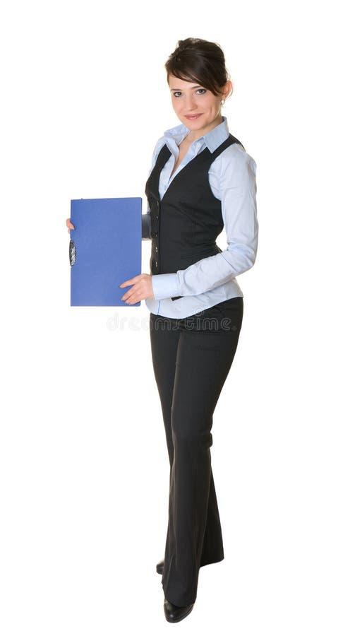 Mujer de negocios con la carpeta de documentos imagen de archivo libre de regalías
