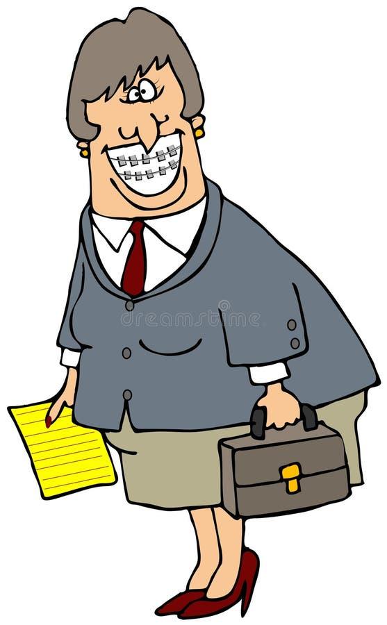 Mujer de negocios con las paréntesis ilustración del vector