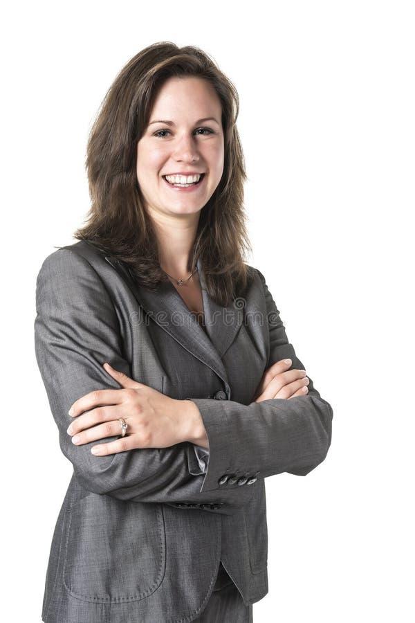 Mujer de negocios con los brazos cruzados imagen de archivo