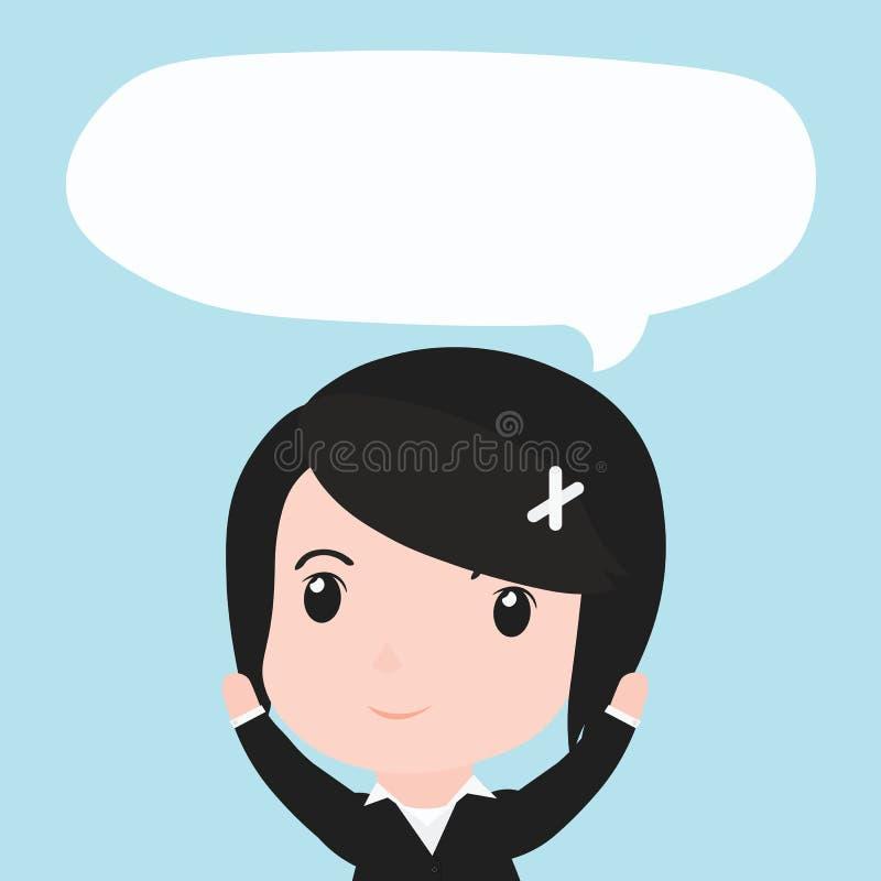 Mujer de negocios con los ides de la burbuja del discurso, historieta libre illustration