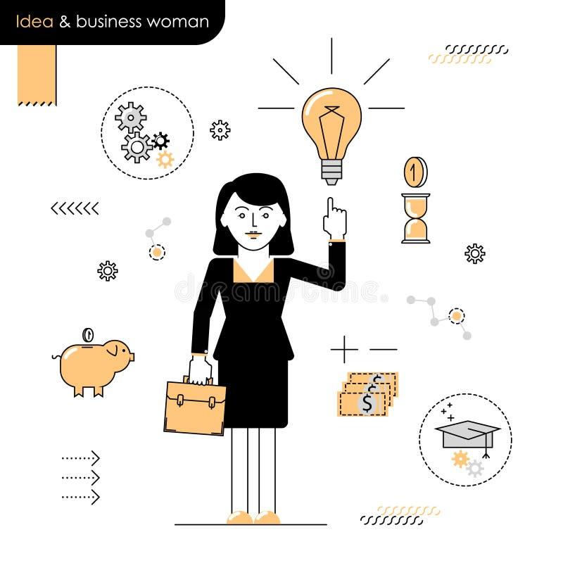 Mujer de negocios con una idea Idea aclarada mujer del ejemplo ilustración del vector