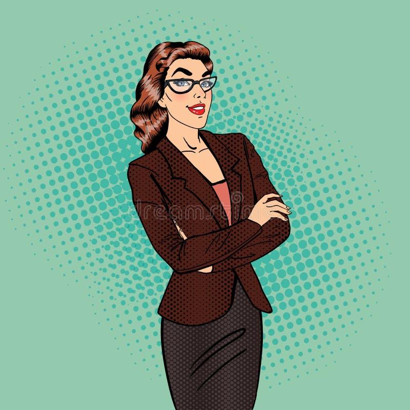 Mujer de negocios confidente Encargado de sexo femenino sonriente Arte pop ilustración del vector