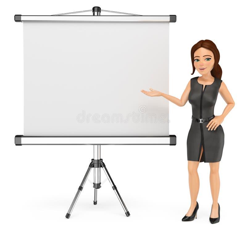mujer de negocios 3D con una pantalla de proyector en blanco stock de ilustración