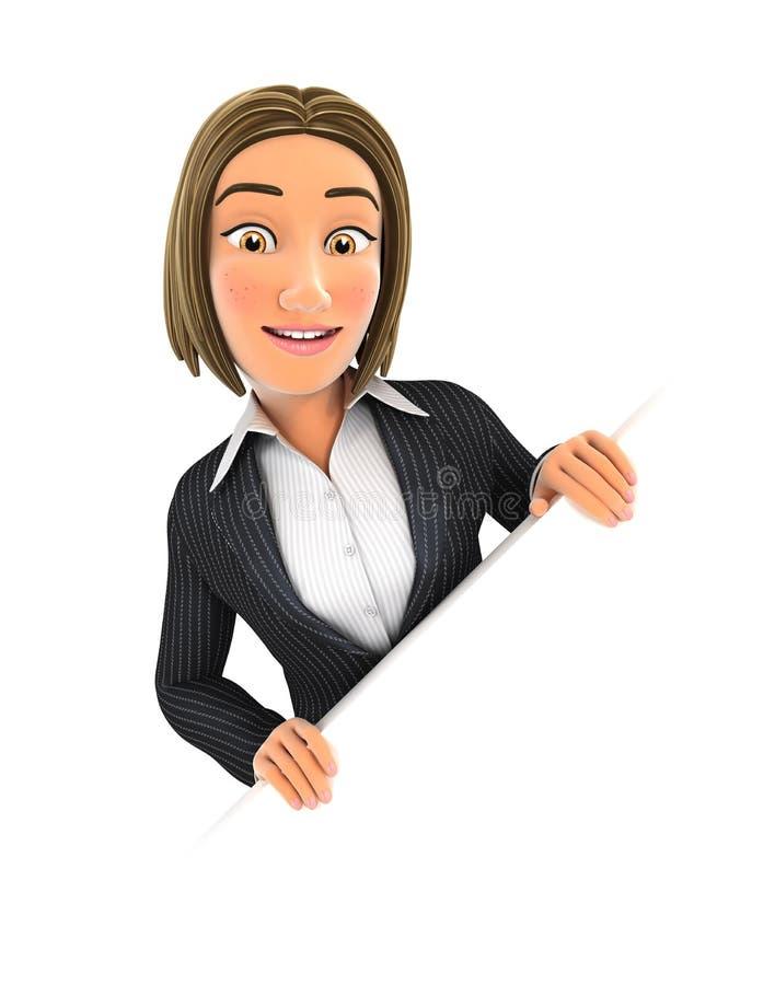 mujer de negocios 3d detrás de la pared diagonal libre illustration