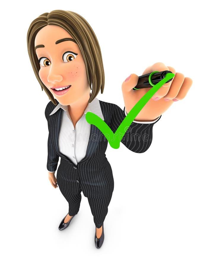 mujer de negocios 3d que dibuja la marca de verificación positiva stock de ilustración