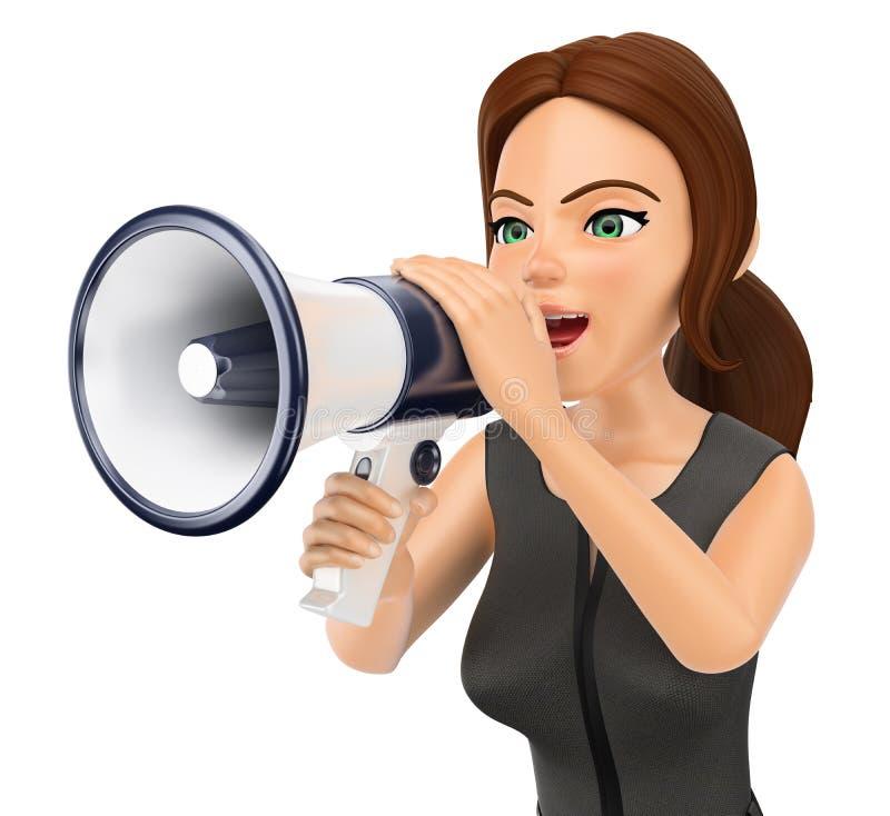 mujer de negocios 3D que habla en un megáfono ilustración del vector