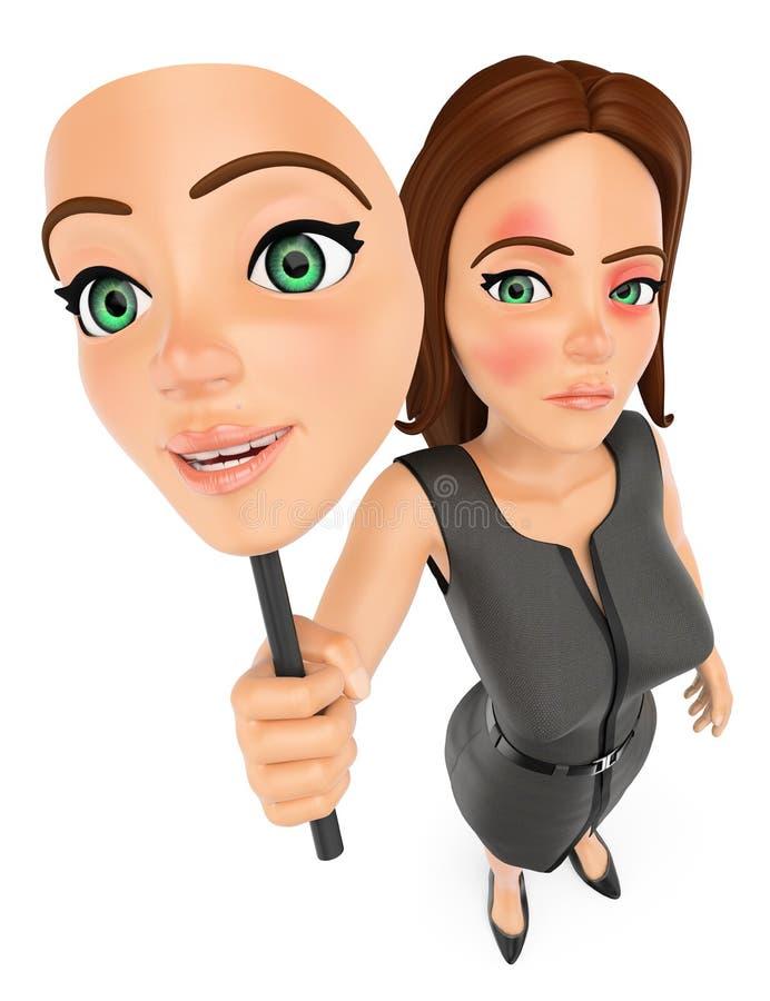 mujer de negocios 3D que quita su máscara abuso Violencia del género stock de ilustración