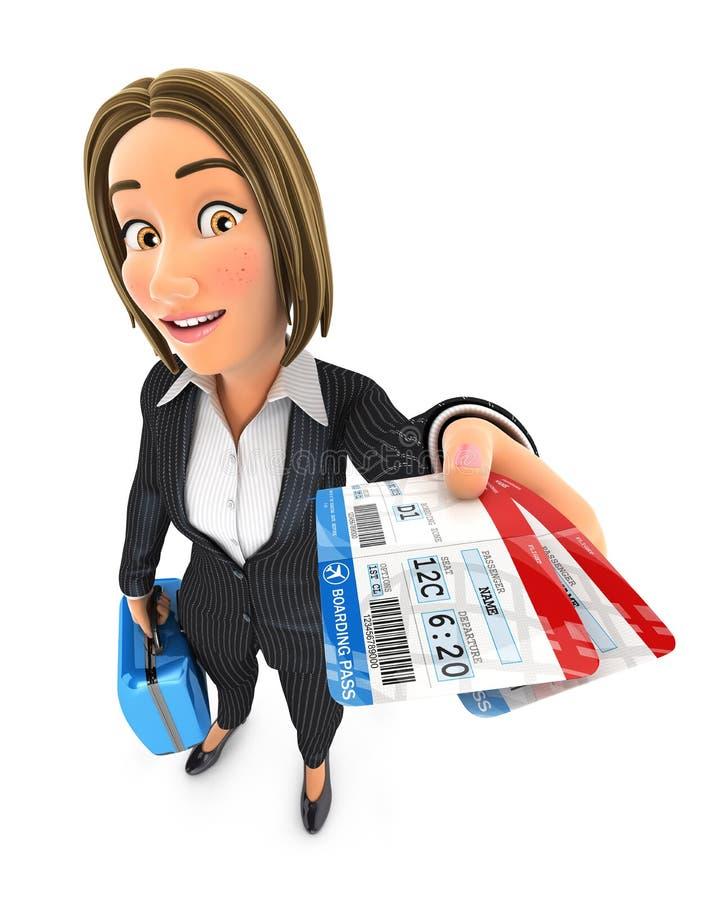 mujer de negocios 3d que viaja para el negocio libre illustration