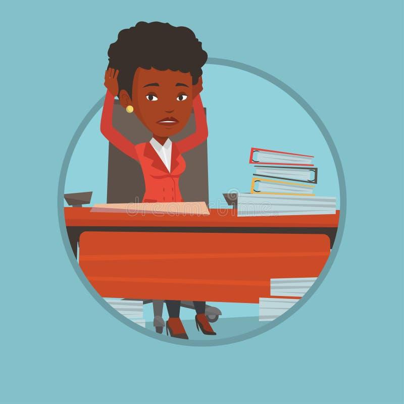 Mujer de negocios de la desesperación que se sienta en oficina stock de ilustración