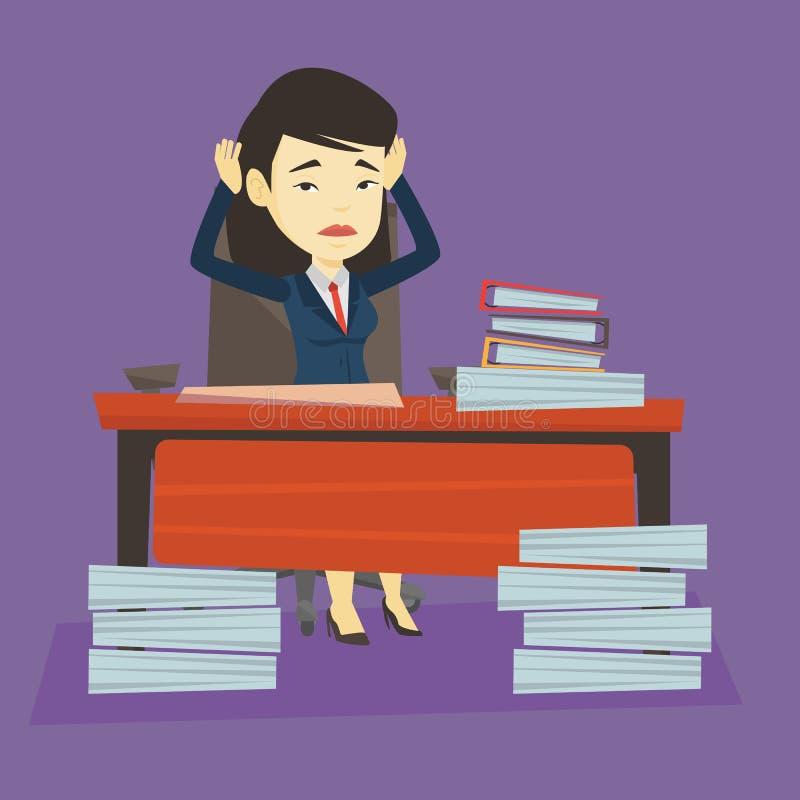 Mujer de negocios de la desesperación que trabaja en oficina libre illustration