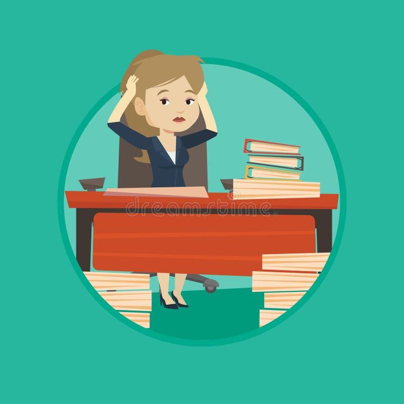 Mujer de negocios de la desesperación que trabaja en oficina ilustración del vector