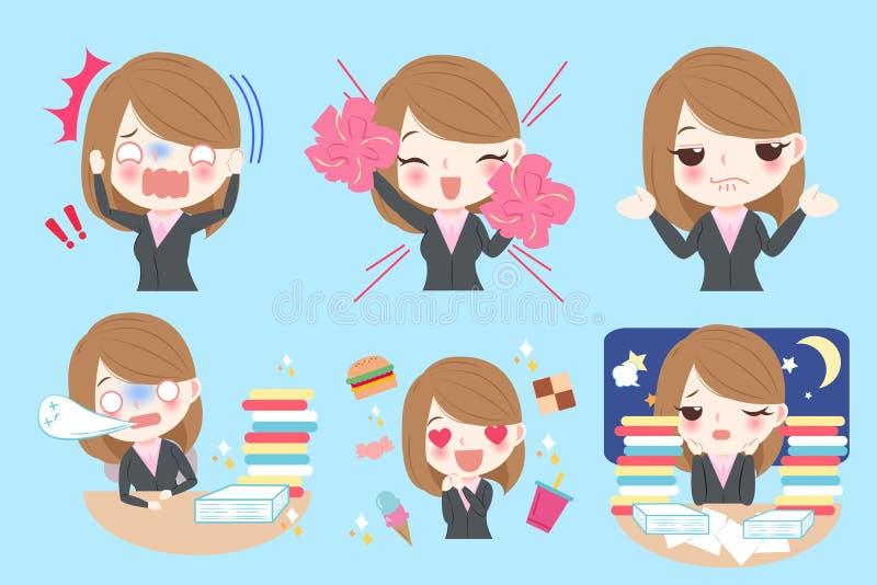 Mujer de negocios de la historieta stock de ilustración