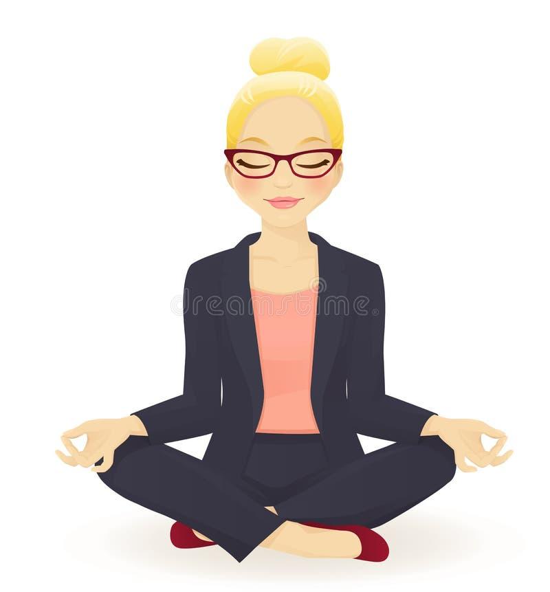 Mujer de negocios de la yoga stock de ilustración