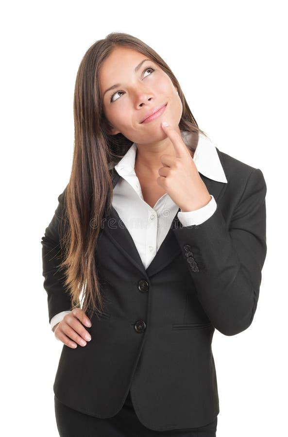 Mujer de negocios de pensamiento imágenes de archivo libres de regalías