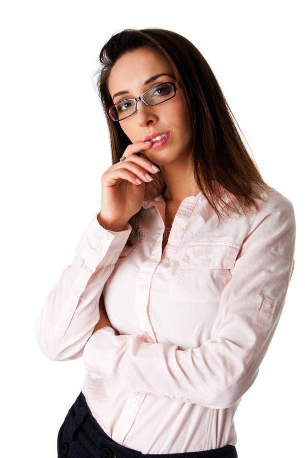 Mujer de negocios de pensamiento fotos de archivo