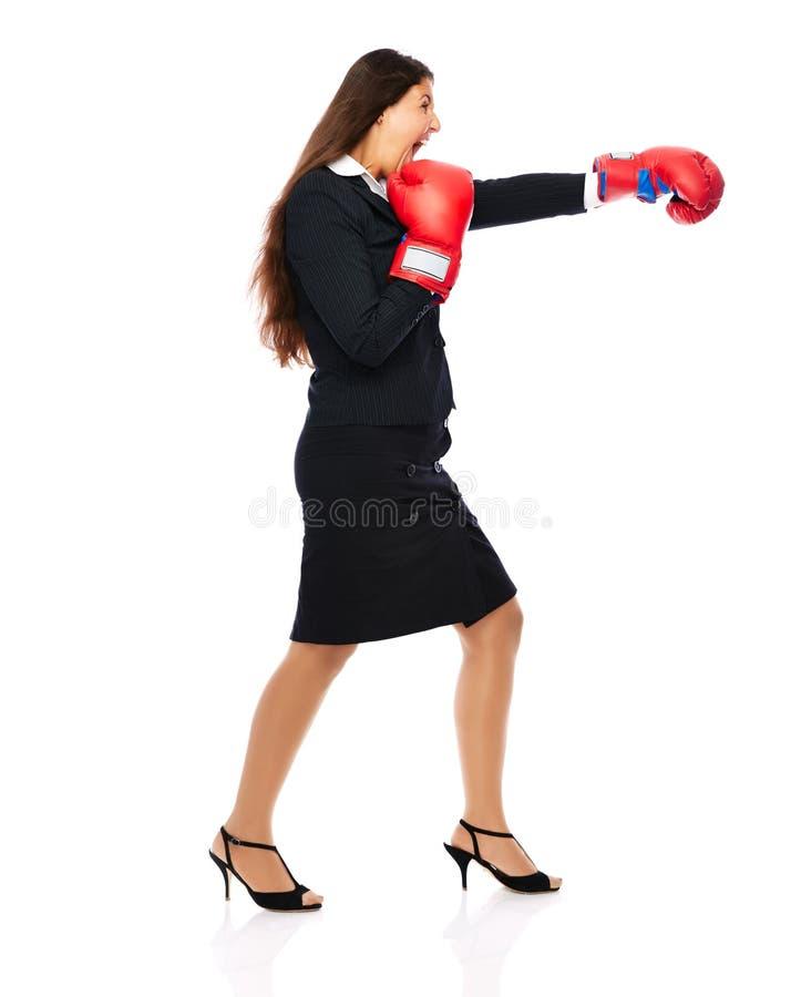 Mujer de negocios del boxeo imagen de archivo