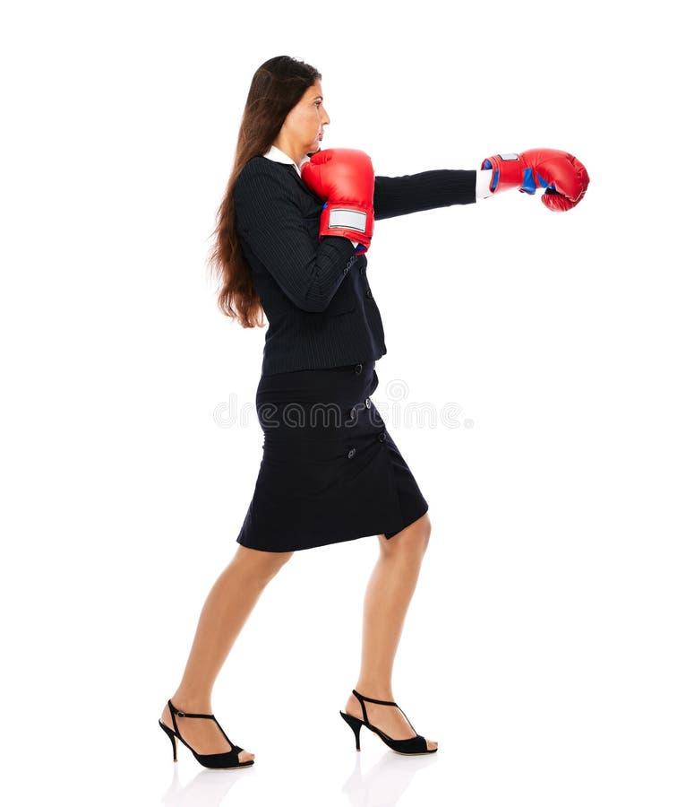 Mujer de negocios del boxeo fotografía de archivo libre de regalías