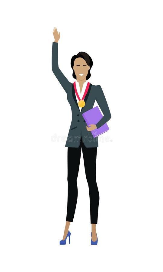 Mujer de negocios del ganador con la medalla de oro stock de ilustración
