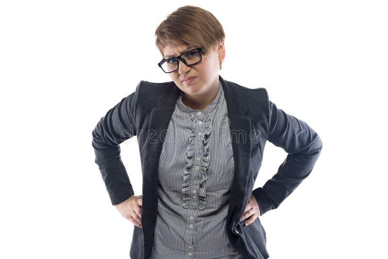 Mujer de negocios descontenta con el pelo corto fotografía de archivo libre de regalías