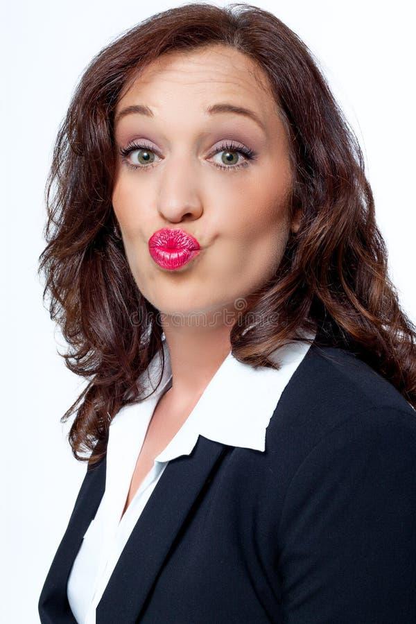 Mujer de negocios divertidos? aislada en blanco fotografía de archivo libre de regalías